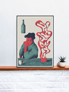Dr Zewo 3 Contemporary Art Print in a frame on a shelf