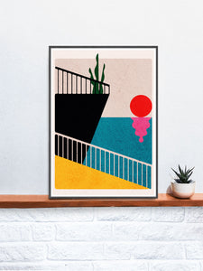 Dr Zewo 34 Contemporary Poster in a frame on a shelf