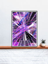 Load image into Gallery viewer, Eclipse Glitch Art Print on a shelf