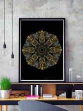 Load image into Gallery viewer, Edison Mandala Print in a frame on a shelf