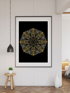 Edison Mandala Print in a frame on a wall