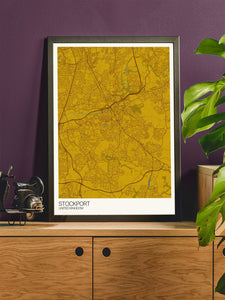Stockport City Map Wall Art in stylish room interior