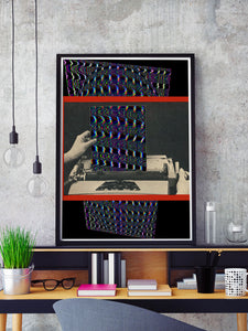 Electric Dreams Retro Art Print in a frame on a shelf