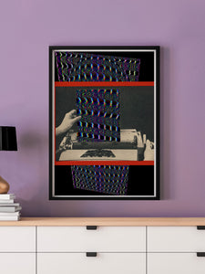 Electric Dreams Retro Art Print in a frame on a wall