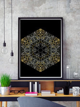 Load image into Gallery viewer, Electric Flower Art Print in a frame on a shelf