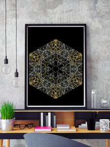 Electric Flower Art Print in a frame on a shelf