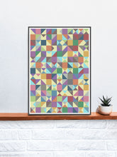 Load image into Gallery viewer, Elysium Field 4 Abstract Art Poster in a frame on a shelf