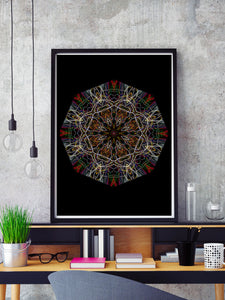 Endymion Symmetry Art Print in a frame on a shelf