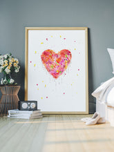 Load image into Gallery viewer, Enlightened Heart Watercolour Fine Art in a bedroom