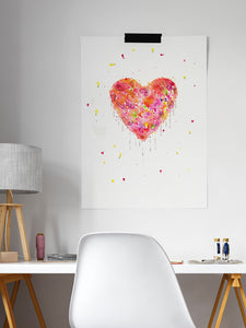 Enlightened Heart Watercolour Fine Art at a desk