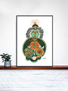 Equinox Illustration Art Print in a frame on a shelf