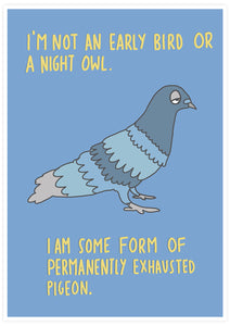 Exhausted Pigeon Bird Art Print not in a frame
