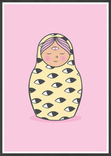 Load image into Gallery viewer, Eye of Matryoshka Russian Doll Print in a frame