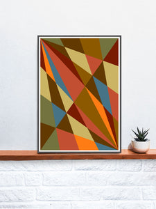 Facettes Trois Geometric Wall Art on a Shelf