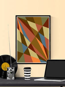 Facettes Trois Geometric Wall Art in a frame on a wall