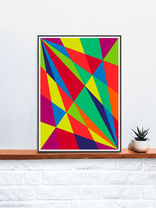 Facettes Un Geometric Art Print on a Shelf