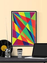 Load image into Gallery viewer, Facettes Un Geometric Art Print in a frame on a shelf