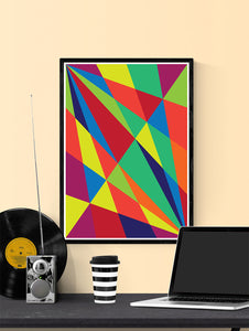 Facettes Un Geometric Art Print in a frame on a shelf