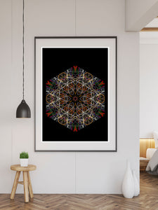Fahrenheit 451 Pattern Print in a frame on a wall