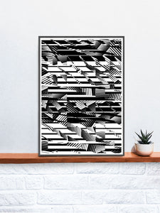 Fax Black and White Pattern Print on a shelf