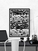 Load image into Gallery viewer, Fax Black and White Pattern Print on a wall