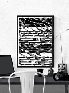 Fax Black and White Pattern Print on a wall