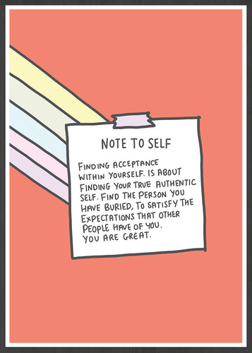Note to Self Wall Art Print in a frame
