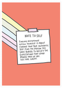 Note to Self Wall Art Print not in a frame