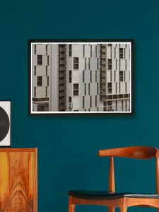 Amazing First Street Building Artwork Print in Modern Room