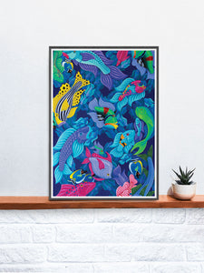 Fish Art Print in a frame on a shelf
