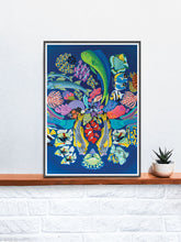 Load image into Gallery viewer, Fishanocci Sea-Life Art Print in a frame on a shelf