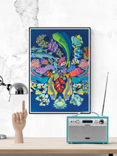 Load image into Gallery viewer, Fishanocci Sea-Life Art Print in a frame on a wall