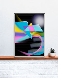 Five Alive Glitch Art Print in a frame on a shelf