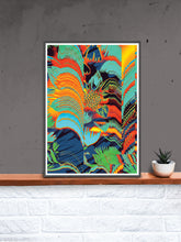 Load image into Gallery viewer, Floral Glitch Art Poster in a frame on a shelf