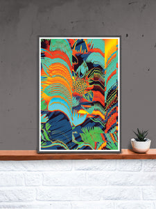 Floral Glitch Art Poster in a frame on a shelf