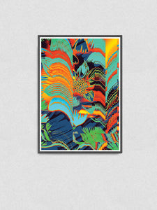 Floral Glitch Art Poster in a frame on a wall