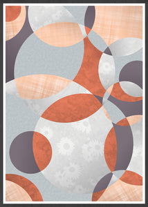 Flower Spiral Abstract Art with Circles in a frame