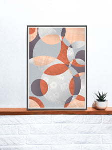 Flower Spiral Abstract Art with Circles on a Shelf
