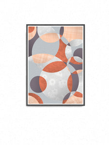 Flower Spiral Abstract Art with Circles in a frame on a wall