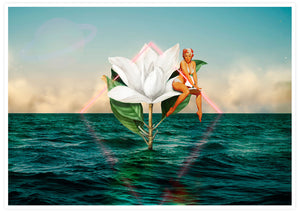 Flowers in the Sea Collage Poster