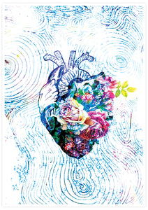 Flowers of my Heart  Illustration Print Art no frame