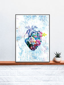 Flowers of my Heart  Illustration Print on a Shelf