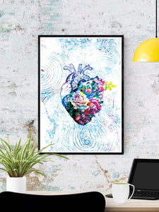 Flowers of my Heart  Illustration Print in a frame on a wall