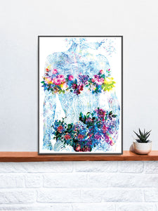 Flowers of my Soul Floral Abstract Art on a Shelf
