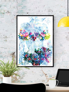 Flowers of my Soul Floral Abstract Art in a frame on a wall