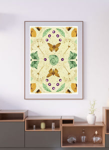 Flying Mosaic Nature Pattern Print