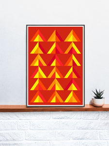 Forest Fire Digital Abstract Art in a frame on a shelf