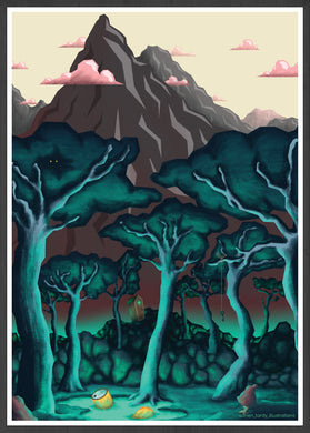 Forest illustration Digital Illustration Art Print in frame