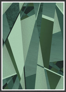 Forest Greens Geometric Art Print in a frame