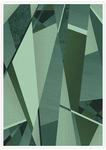 Forest Greens Geometric Art Print not in a frame